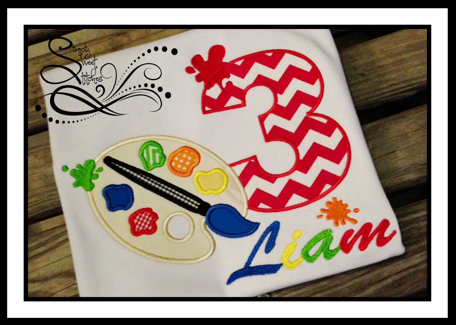 Paint Brush Birthday Number Applique with Free Monogramming by AprylEatman on Etsy