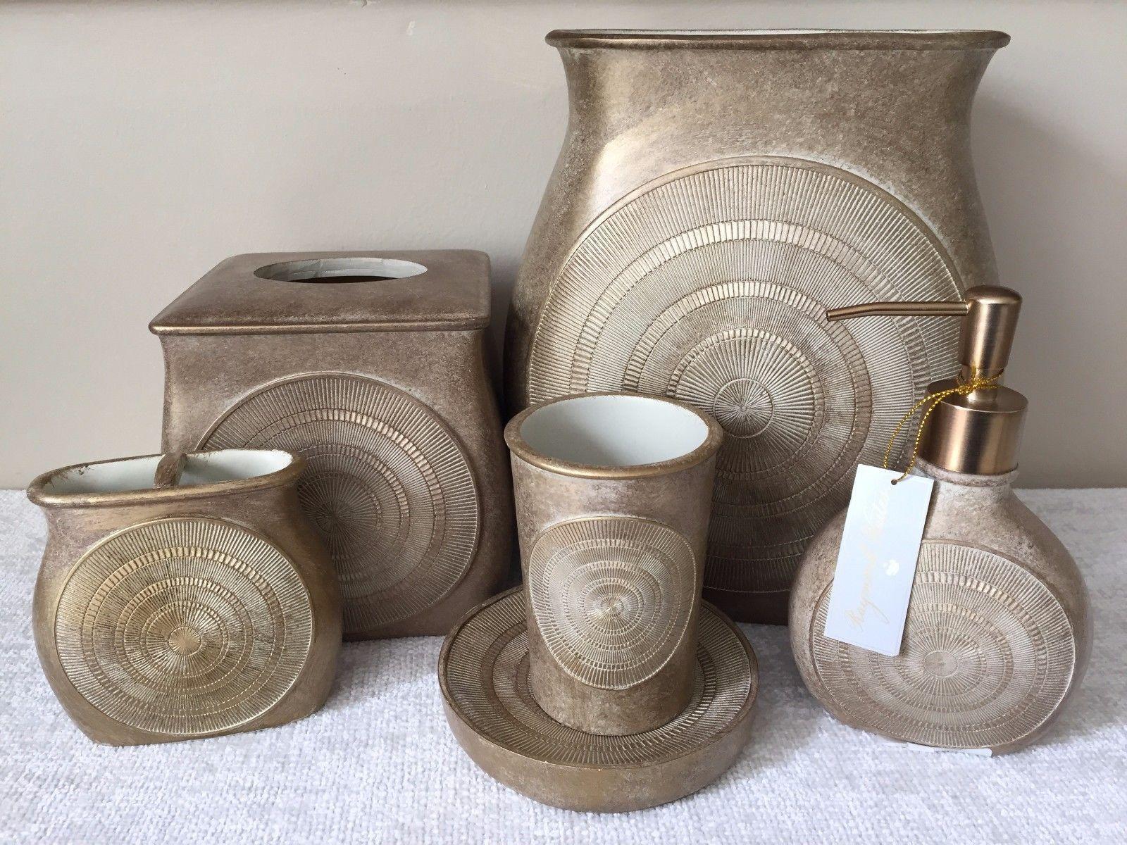 Gold bathroom sets - Bath Accessory Sets 176990 Raymond Waites Gold Bathroom Set Dispenser Toothbrush Wastebasket Soap More