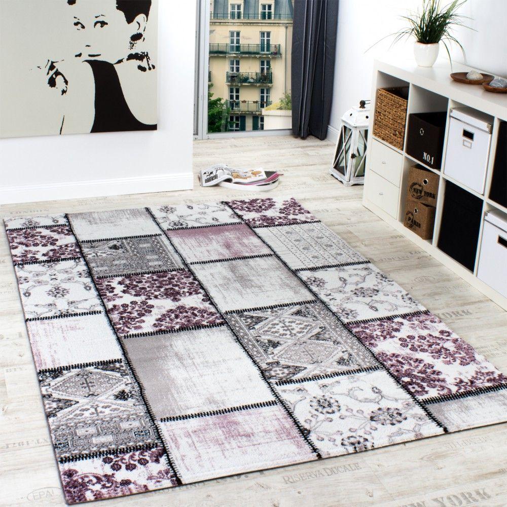 Edler Designer Teppich Patchwork Vintage Look Teppich Meliert In Lila Creme Teppich Design Teppich Große Teppiche