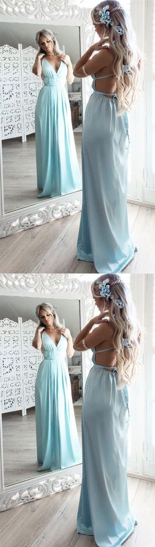 Green backless prom dress  ALine Prom DressesSpaghetti Straps Prom DressesBackless Prom