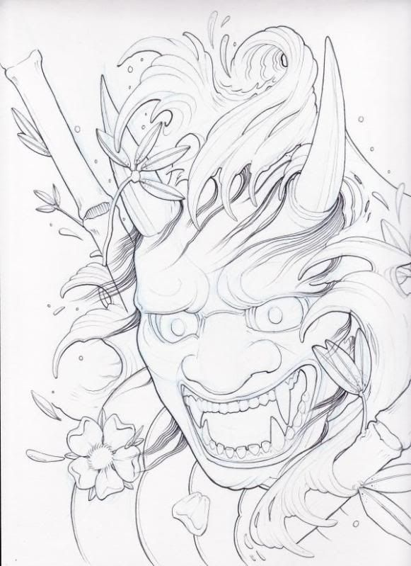 Samurai Warrior Mask Tattoo | Cool Samurai Mask | Oni+mask+tattoo ...