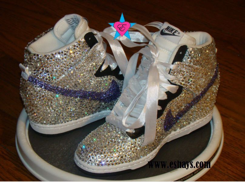 Custom Fully Covered Swarovski Crystals  Violet Swoosh Nike Dunks Bling  Rhinestone with Ribbon Laces- White Black Nike Dunk Sky Hi Wedge Sneaker 976142411