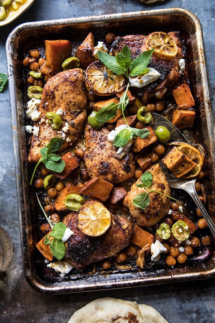 Sheet Pan Harissa Chicken with Chickpeas and Sweet