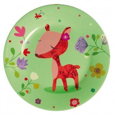 Deer Melamine Plate Peach Pear Kids Kids Melamine Plates Deer Plate Pretty Plates