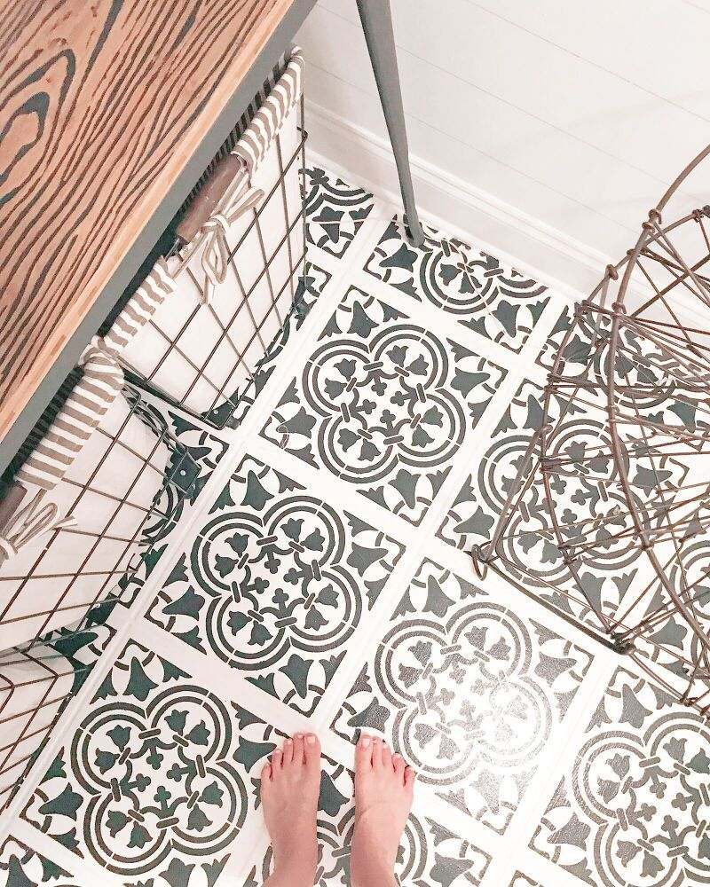 How To Upgrade Your Tile Floors With A Stencil Some Chalk Paint Diy In 2020 Tile Floor Diy Chalk Paint Painting Tile Floors
