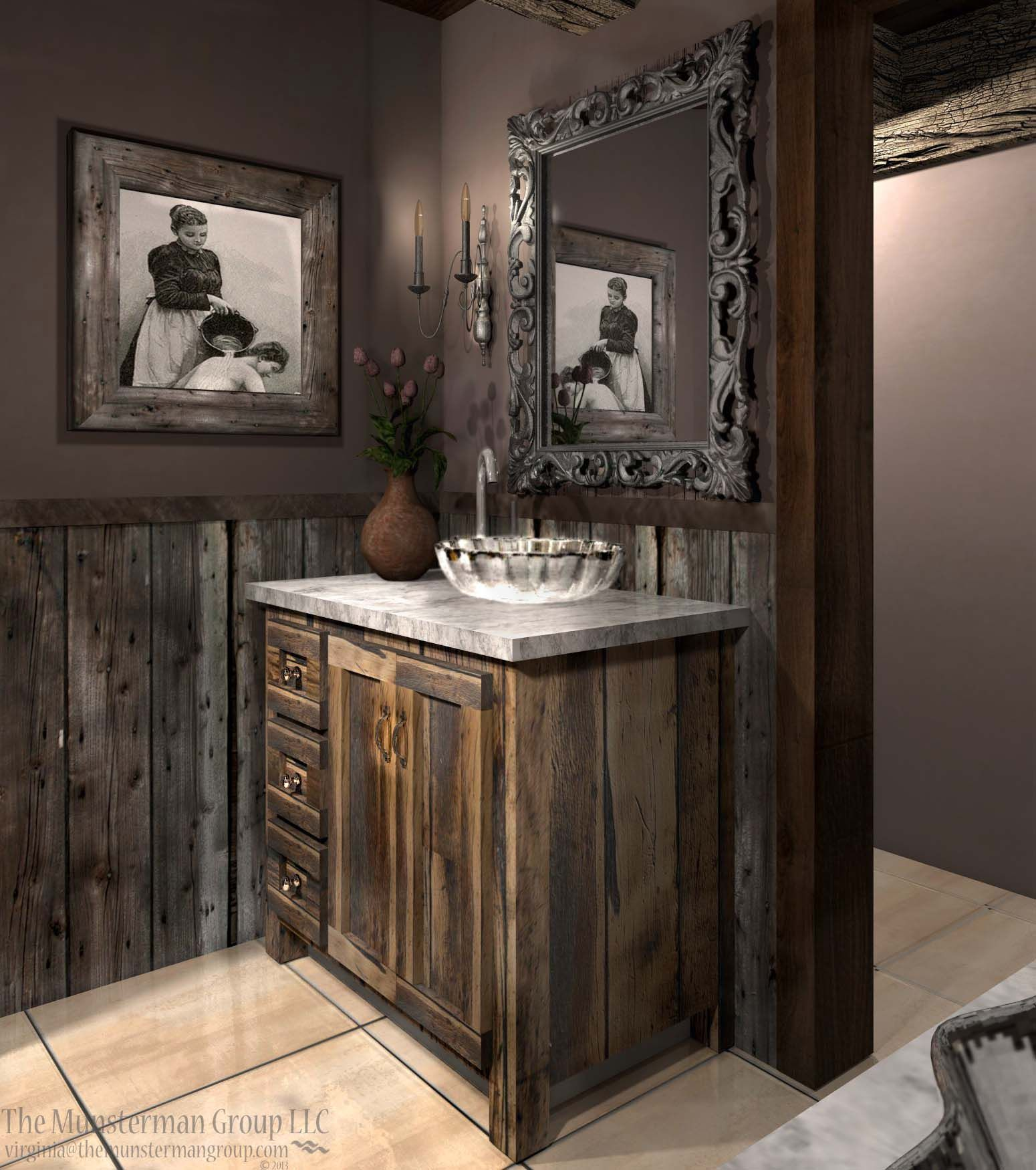 Diamond mine bath redesign barn wood reclaimed for Dark wood bathroom designs