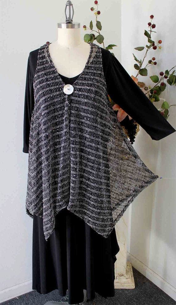 Elegant High end Plus size Lagenlook Poncho in quality Sequined Mesh ...