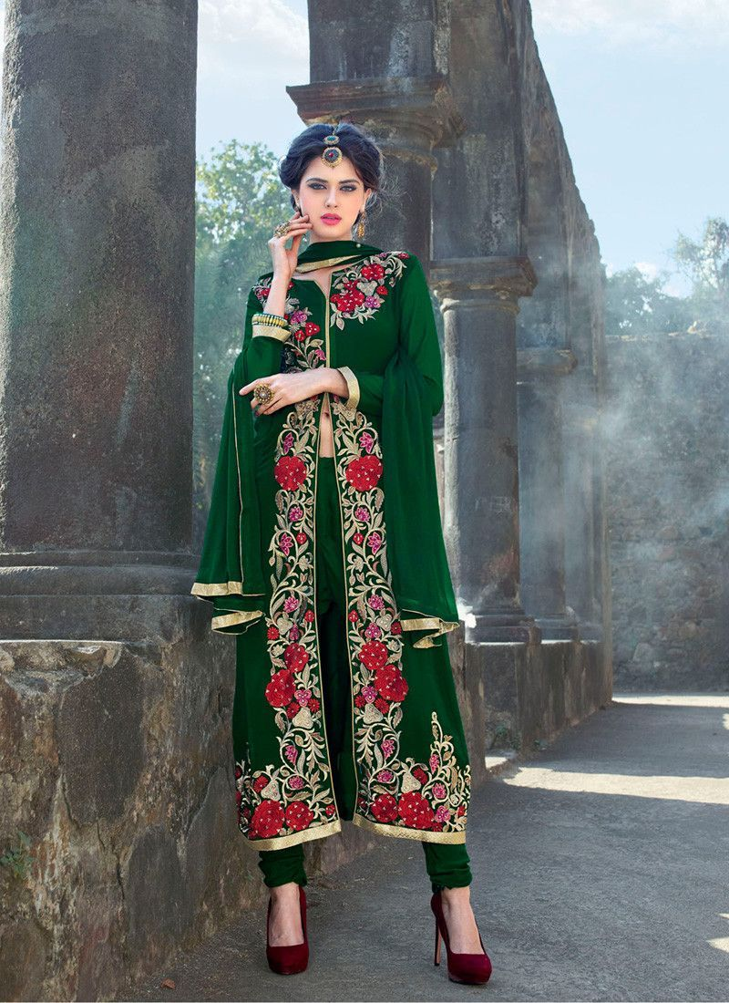 e845b184cf Achkan Style Green Color with Crystals Stones Work Incredible Unstitched Salwar  Kameez