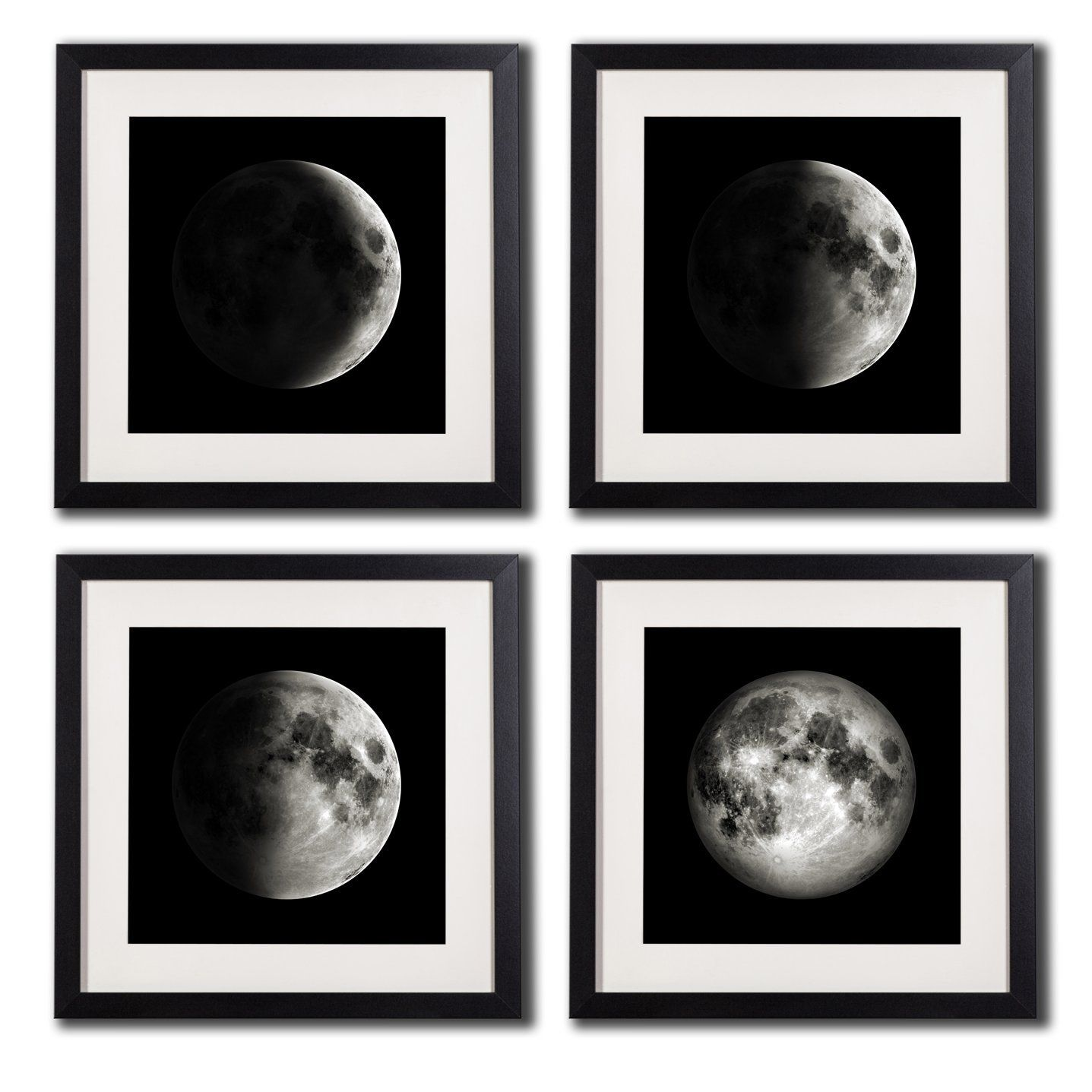 White Matted Black Picture Frame Moon Poster Canvas Prints Black