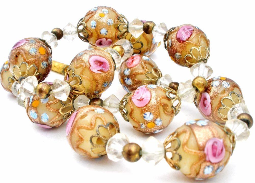 venetian wedding cake bead necklace yellow u0026 pink murano glass vintage lampwork
