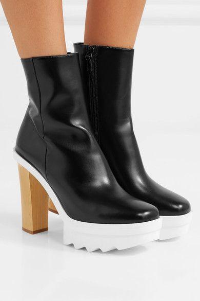 3e8d9b1019d STELLA MCCARTNEY sophisticated black Faux leather platform ankle ...