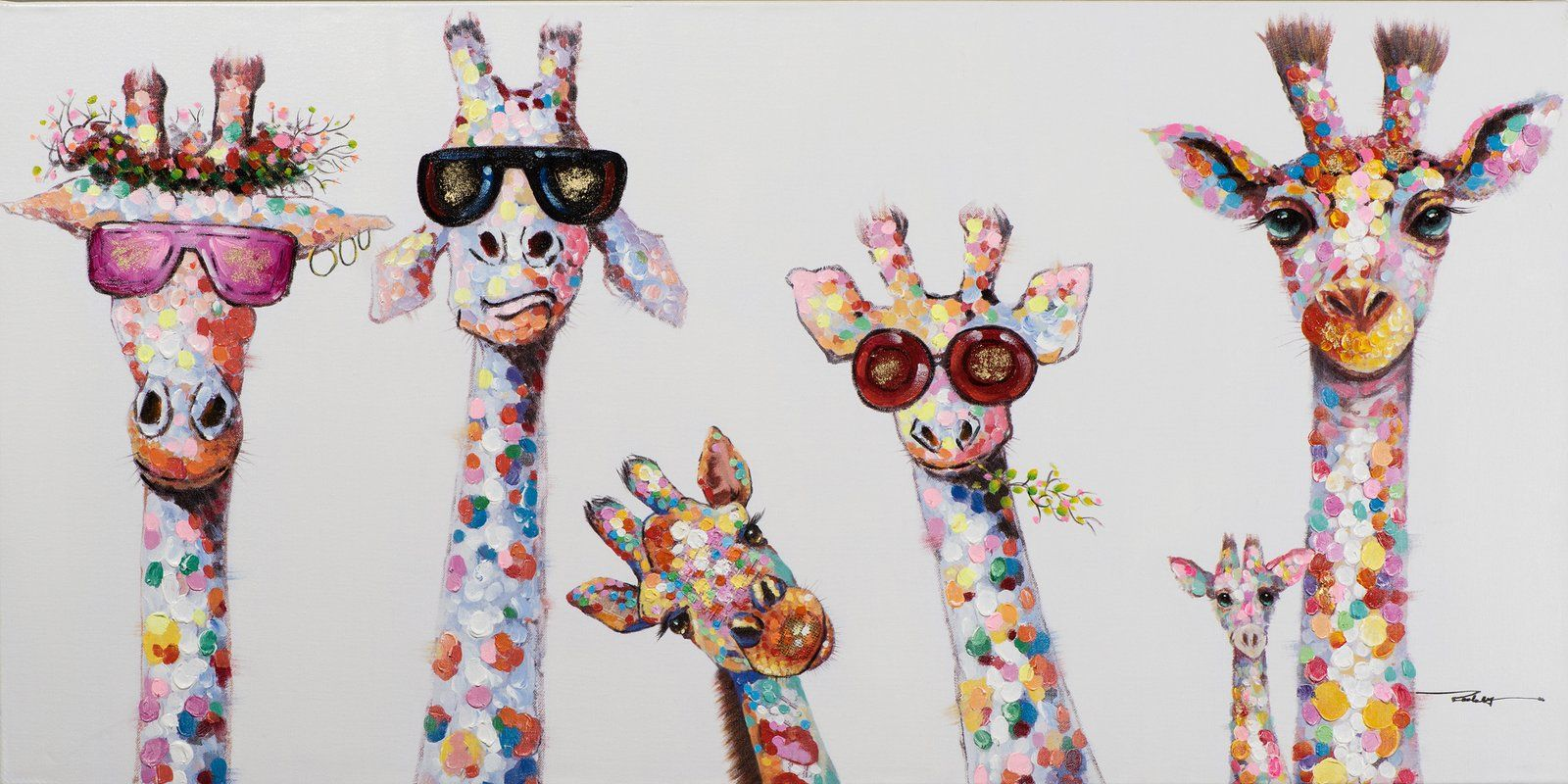 'Curious Giraffes Family' Wrapped Canvas Painting Print