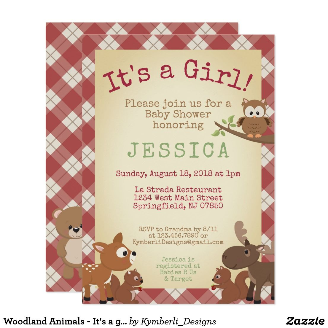 Woodland Animals It S A Girl Baby Shower Invitation Zazzle Com Boy Baby Shower Card Baby Girl Shower Cards Baby Shower Invitations