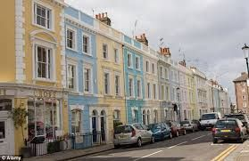This is a famous street in London. It's called... Can you say what type of houses are there? Can you describe them?