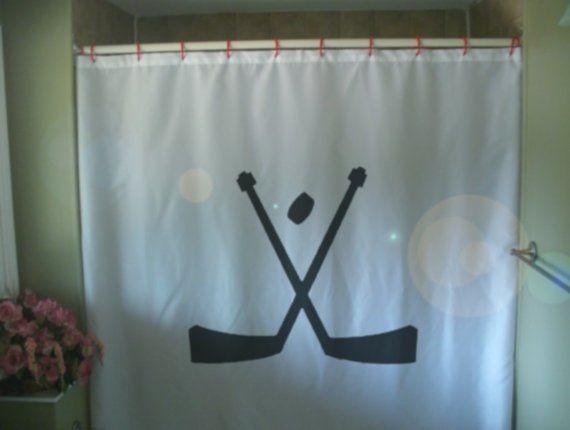 Hockey Sticks Shower Curtain Sport Ice Puck Skate Bath Kid