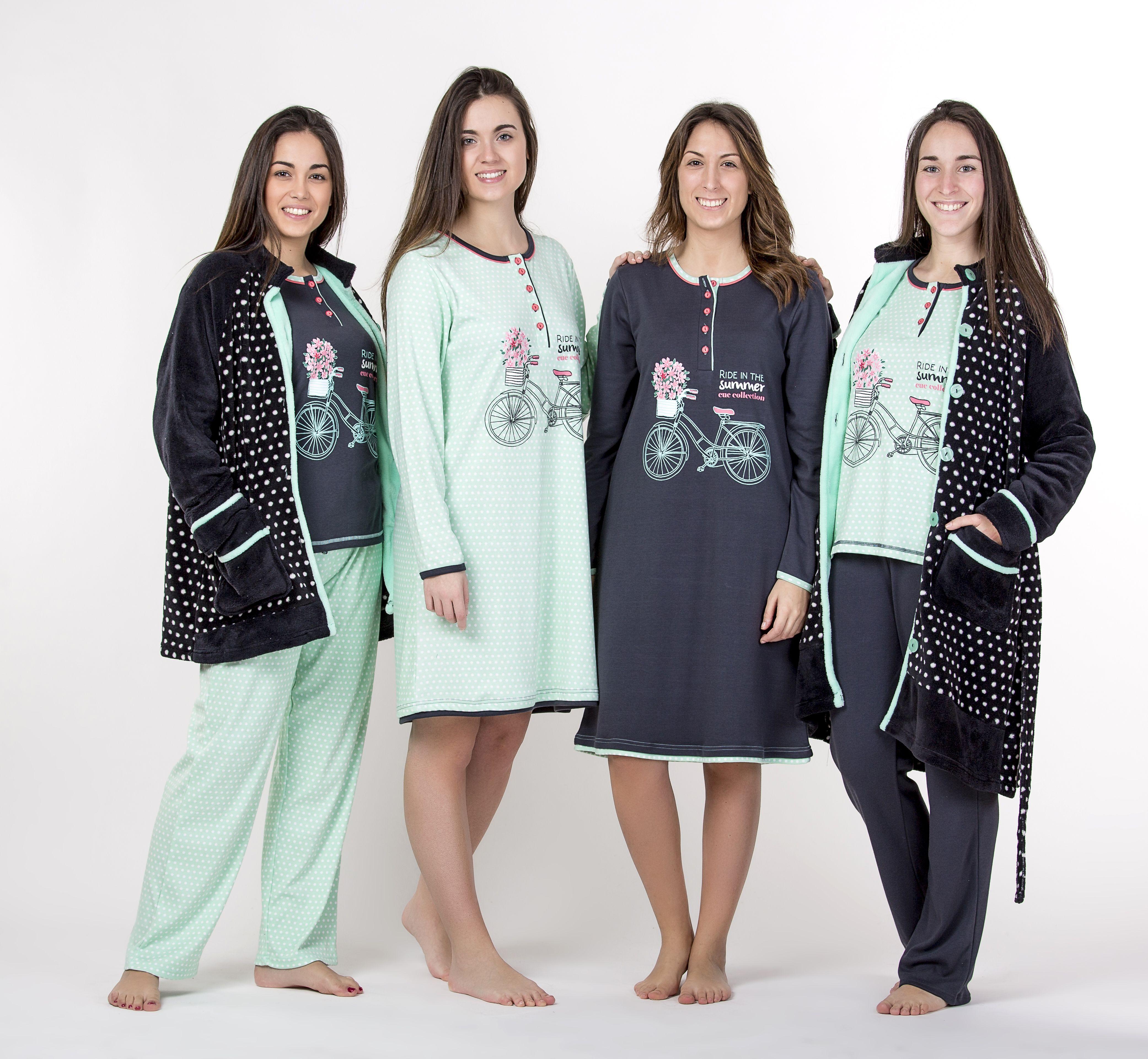 Pijama Bata Mujer Chica Senora Estampado Gris Verde Pantalon Camiseta Largo Bicicleta Flores Topos Diseno Batas De Mujer Ropa Moda Para Mujer