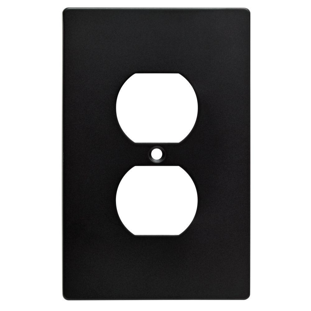 Hampton Bay Black 1 Gang Duplex Outlet Wall Plate 1 Pack W32732 Fb U The Home Depot Plates On Wall Hampton Bay Outlet Covers
