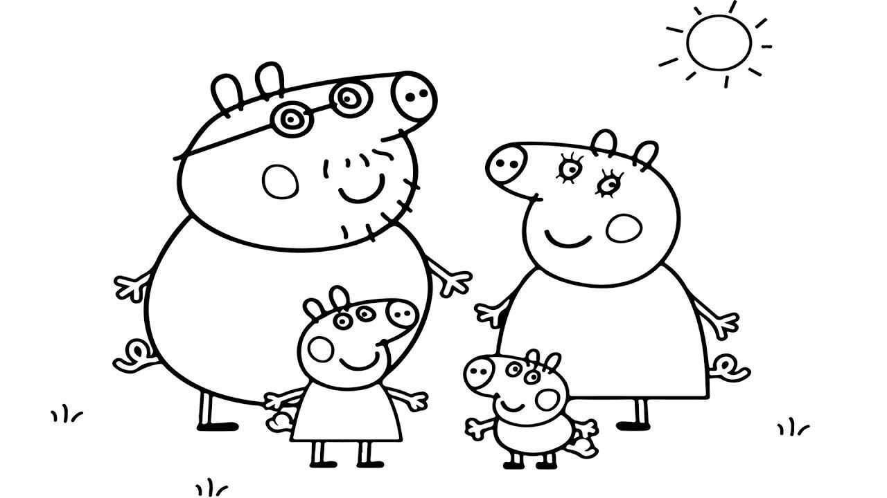 Como Colorear Peppa Pig Family - Videos Para Niños Learn Colors ...