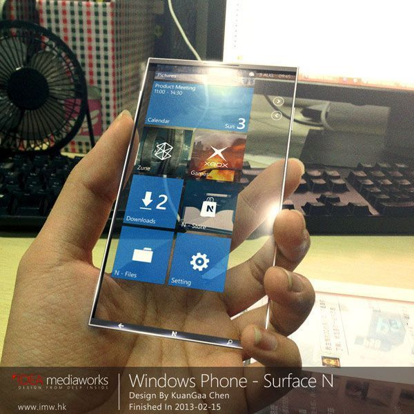 windows phone surface n with transparent 4k display. Black Bedroom Furniture Sets. Home Design Ideas