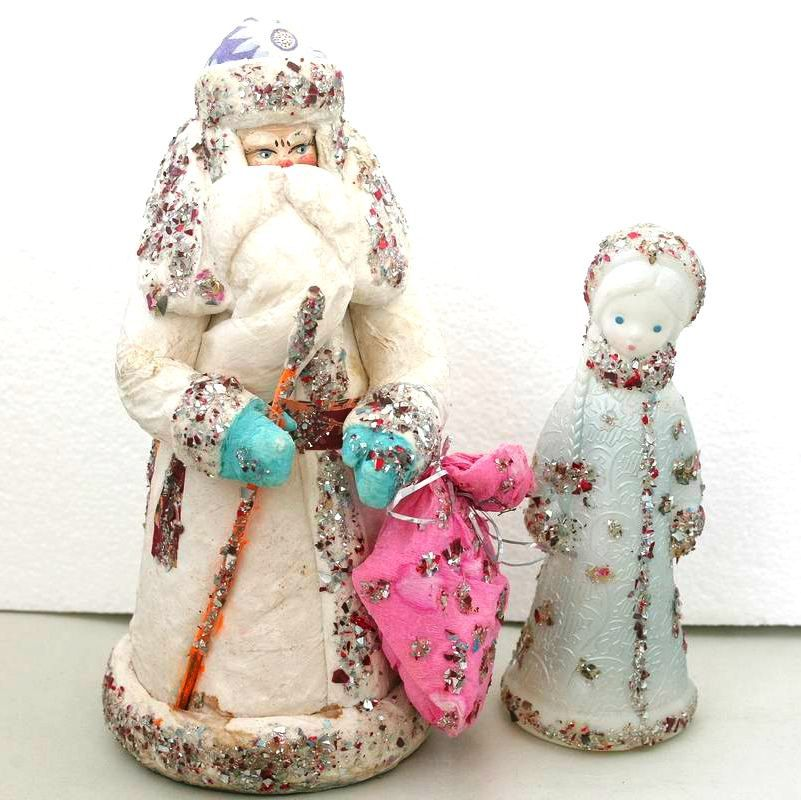 Set Ded Moroz Santa Claus Snow Maiden Russian Old Vintage Porcelain Figurine