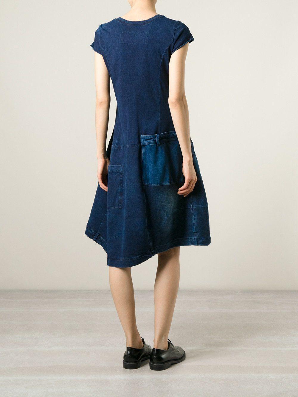 Rundholz Jeanskleid mit Patchwork Design | Jeanskreationen