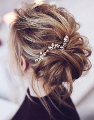 Wedding Hairstyle Inspiration Rhinestones In A Messy Low Bun Hair Styles Messy Wedding Hair Messy Bridal Hair