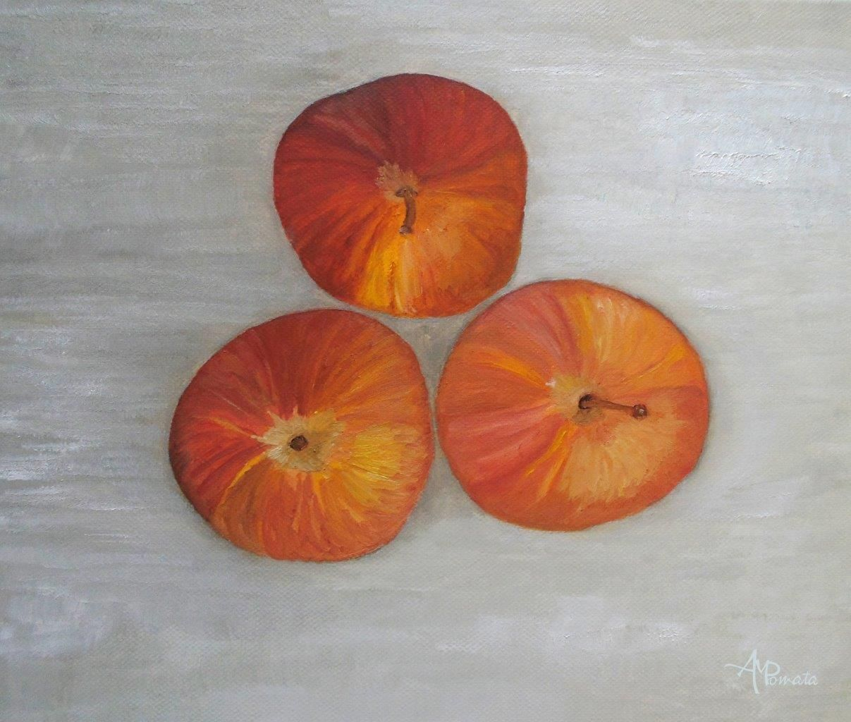 Red Apples On Gray By Angeles M Pomata Apple Painting Red Apple Grey Painting