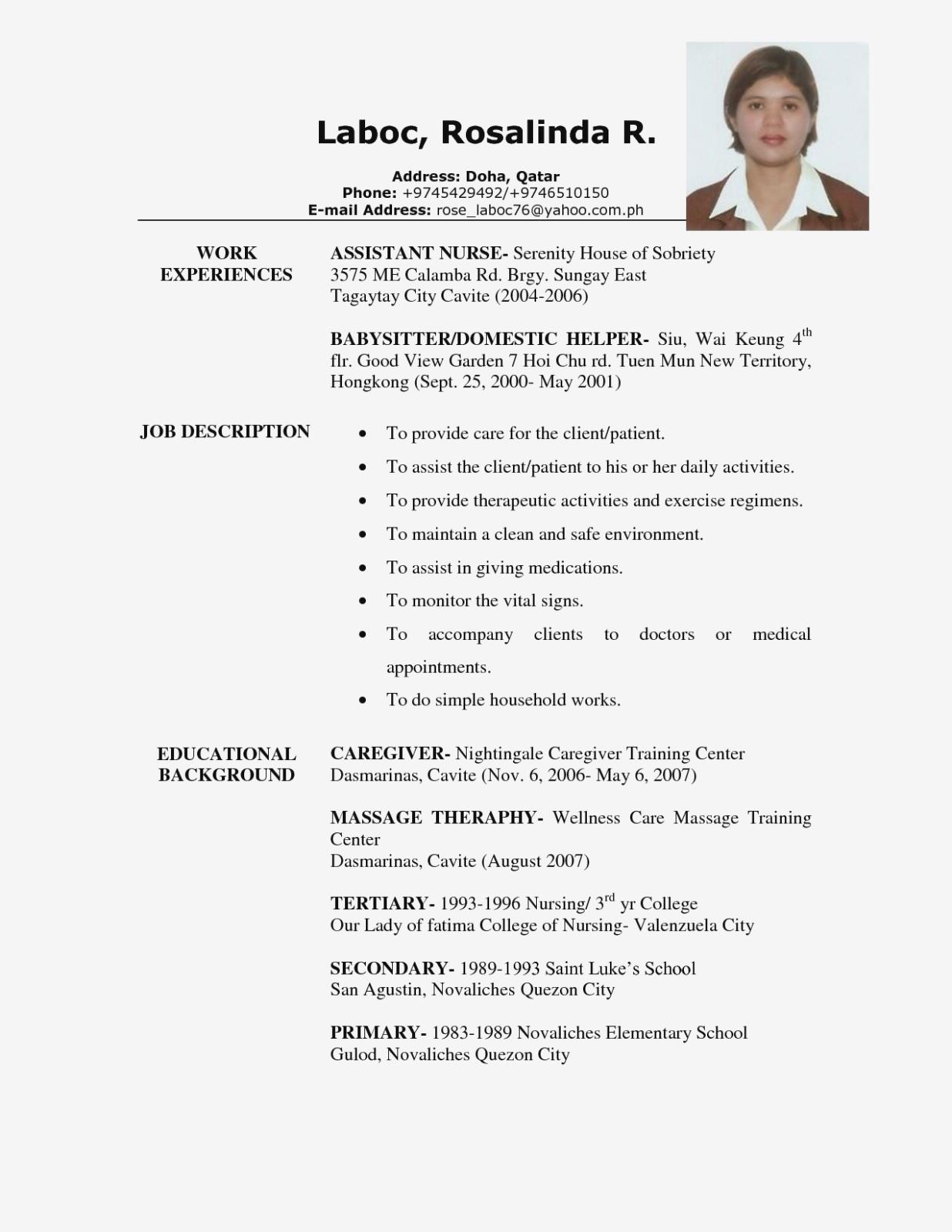Caregiver Resume Samples Skills 2019 Caregiver Resume Examples 2020