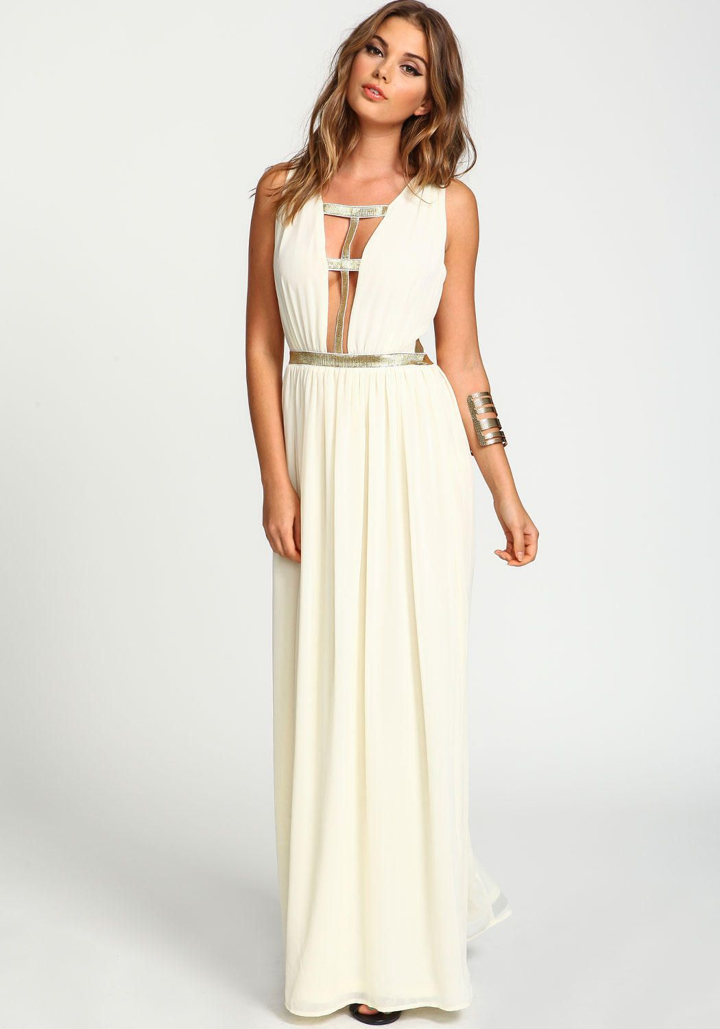 Gold cage maxi dress beauty style fashion pinterest maxi