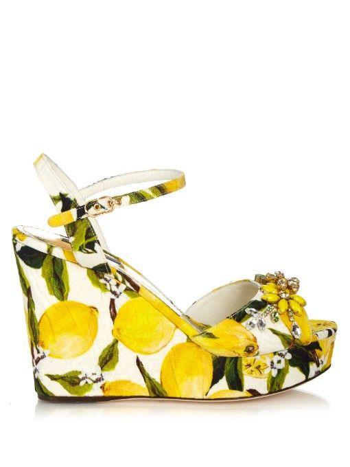 0303c30b07a7 Dolce   Gabbana Lemon-print embellished wedge sandals