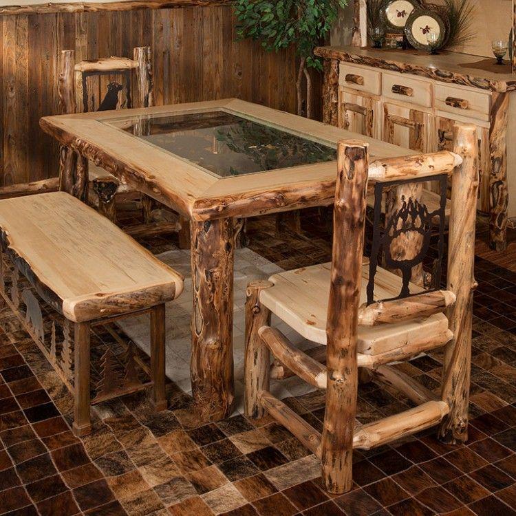 Calera Aspen Metal Insert Dining Table Rustic Log Furniture Wood Dining Table Rustic Dining Table Rustic