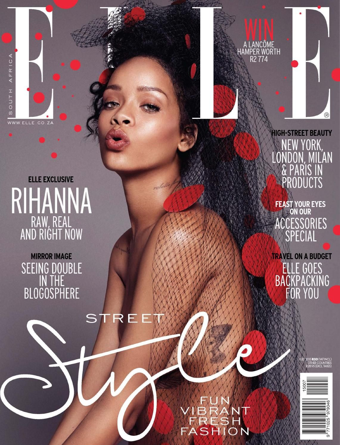 July 2015 Za Fashion Magazine Cover Elle Magazine Magazine Cover Page