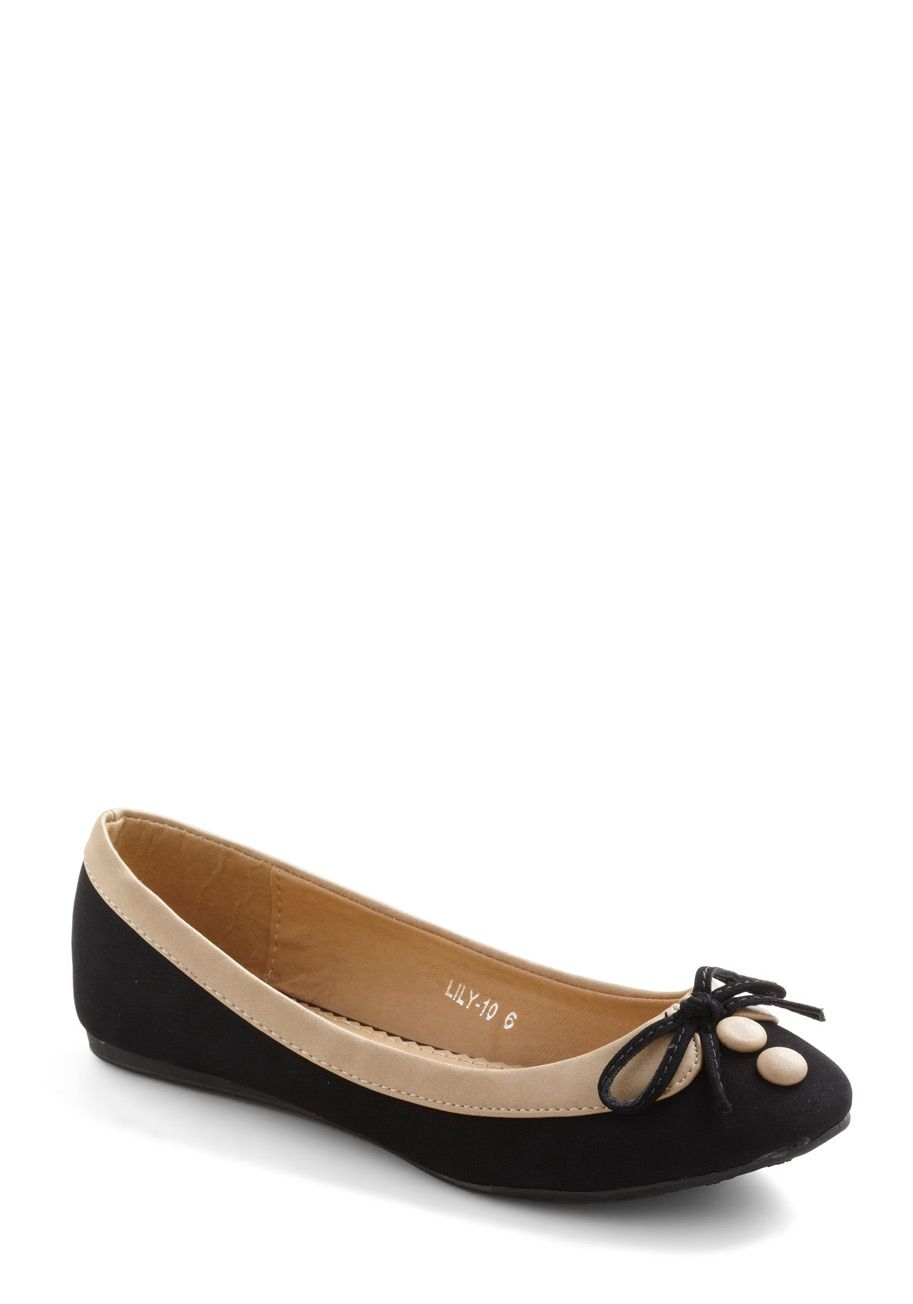 Collar Me Maybe Flats in Coal Cover - Black, Tan / Cream, Color Block, Bows, Casual, Film Noir, Buttons, Work