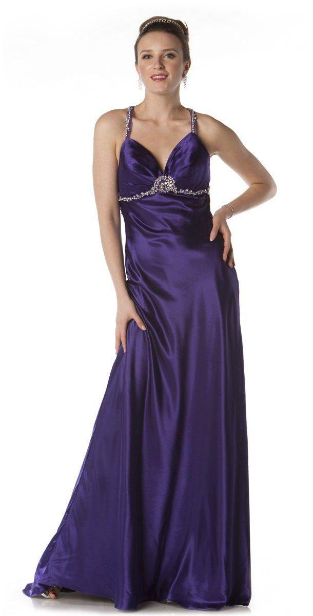 Beautiful Long Maxi Purple Prom Formal Dress Silky Satin Back Train ...