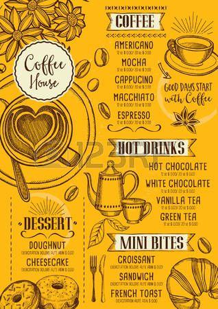 Restaurante caf vector de folletos dise o de men de for Disenos de menus para cafeterias