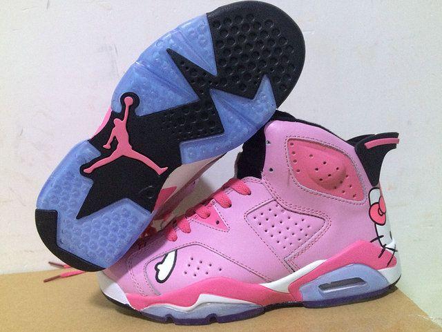 new concept 5146b 98799 Air Jordan 6 GS VI Hello Kitty Pink Flash Pink Fire Size 10