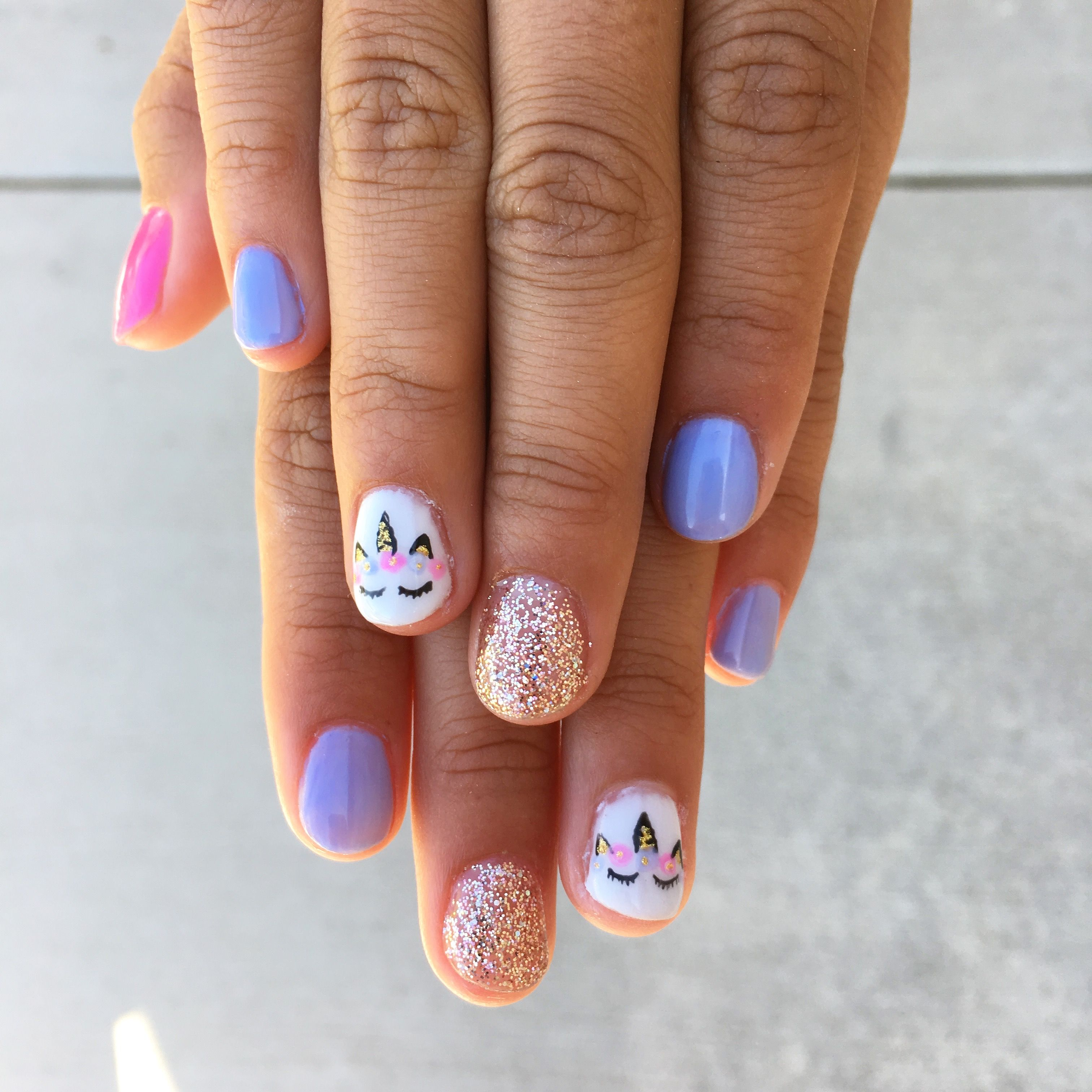 unicorn nails. little girl