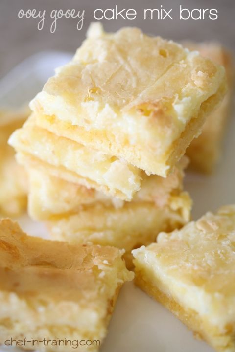 Gooey Cake Mix Bars Ooey Gooey Cake Mix Bars from chef-in- …These are so simple to make and are absolutely delicious!Ooey Gooey Cake Mix Bars from chef-in- …These are so simple to make and are absolutely delicious!