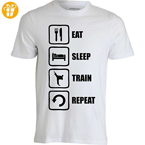 Eat Sleep Train Repeat Funny Black Graphic Men's T-Shirt XX-Large (*