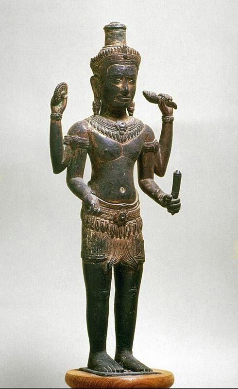 The Hindu deity Vishnu-Vasudeva-Narayana  Place of Origin: Cambodia, former kingdom of Angkor  Date: 1175-1225  Materials: Bronze with traces of gilding and gemstones  Style or Ware: Bayon
