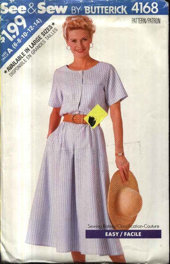 Butterick Sewing Pattern 4168 Misses Size 6-14 Easy Short Sleeve Flared Skirt Dress   Butterick++Sewing+Pattern+4168+Misses+Size+6-14+Easy+Short+Sleeve+Flared+Skirt+Dress