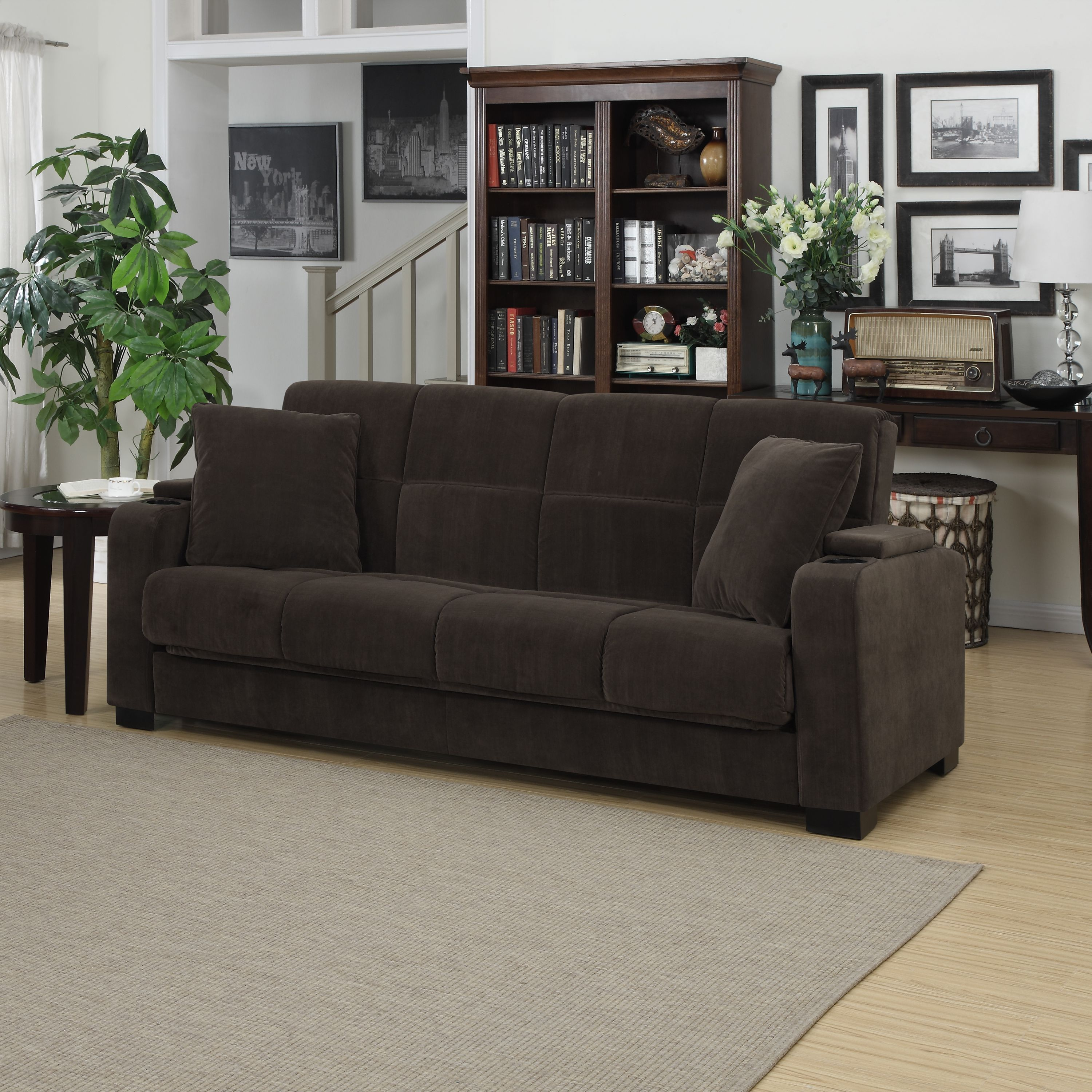 Clay Alder Home Klingle Chocolate Brown Velvet Convert A Couch