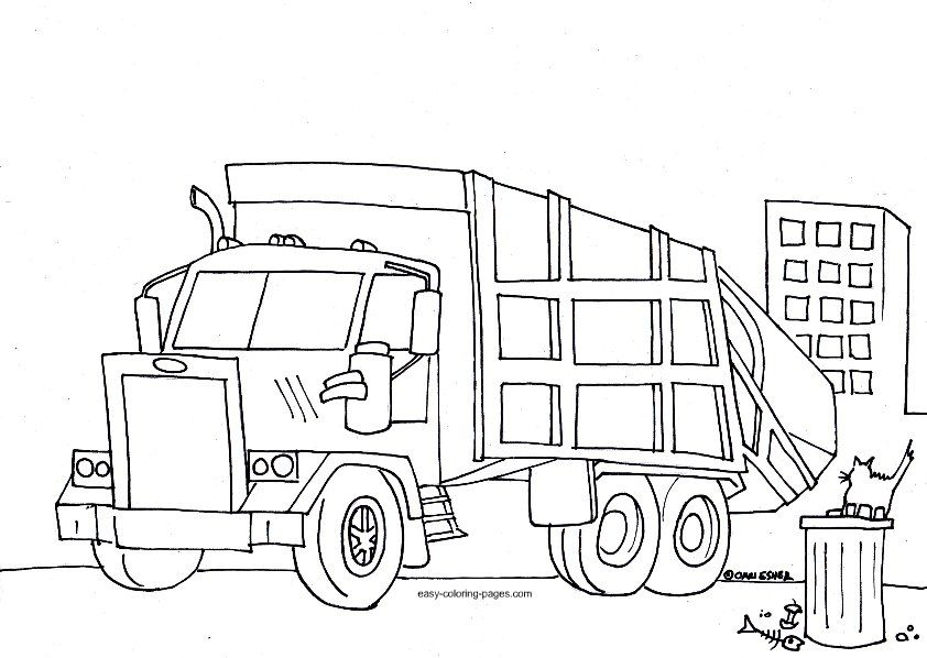 garbage truck coloring pages free google search - Construction Trucks Coloring Pages