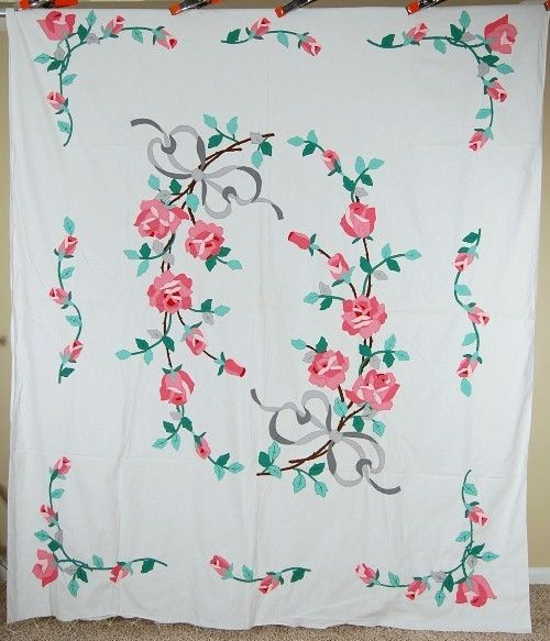 Vintage 40 S Roses Amp Ribbons Applique Antique Quilt Top