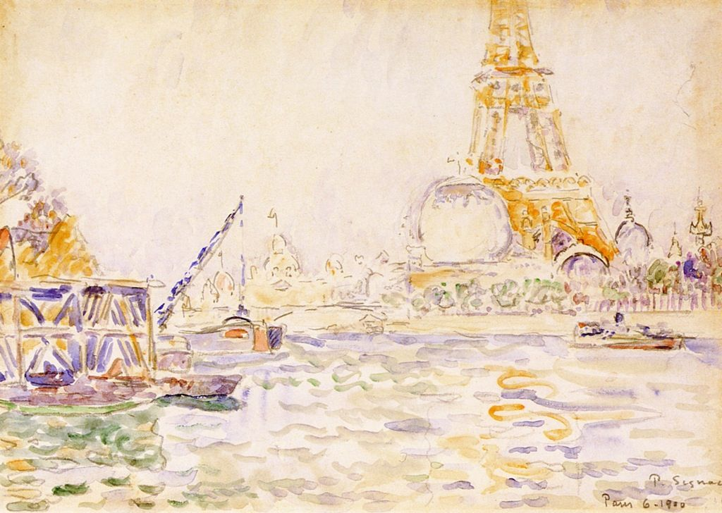 Paul Signac, View of Paris with the Eiffel Tower, watercolor & pencil on paper Watercolors, Sailing & Signac | Paint Watercolor Create http://paintwatercolorcreate.blogspot.com/2013/09/watercolors-sailing-signac.html