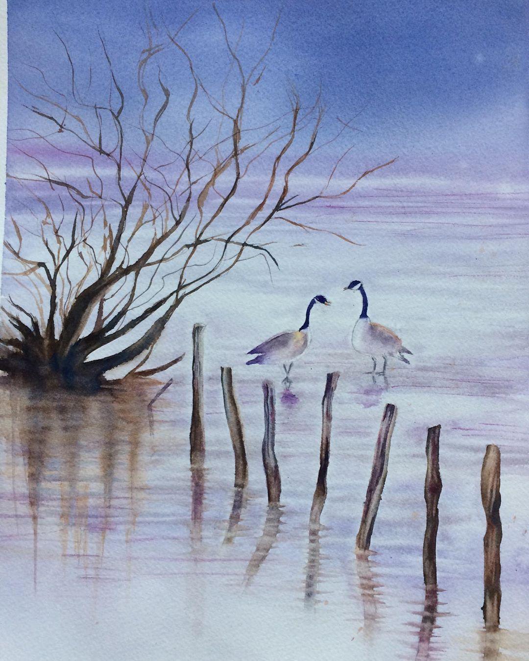 Hiver#aquarelle#aquarellepainting #aquarelleart #aquarellegallery #watercolor#watercolorpainting #watercolor_blog...