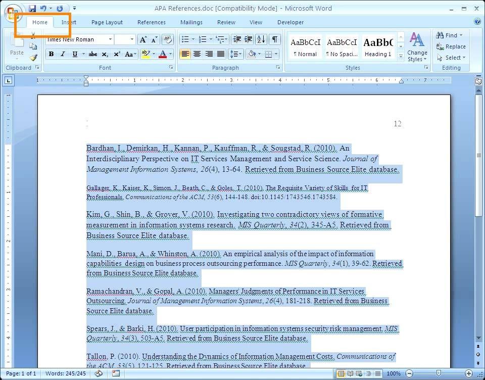 Apa Reference Page References Page Apa Formatting Study Tips