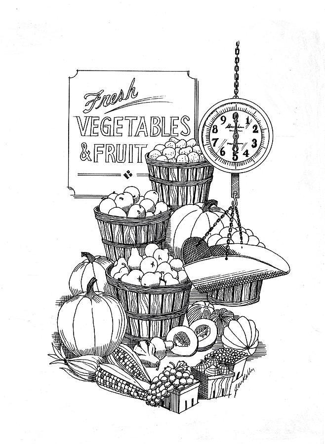 Farmers Market By J W Kelly Ink Pen Drawings Farmers Market