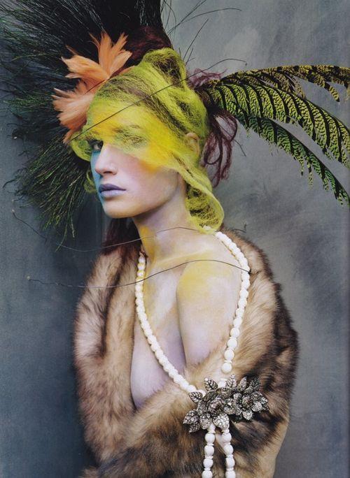 Andrew Marc Toscana shearling coat, Camilla Dietz Bergeron diamond rose brooch, steven meisel