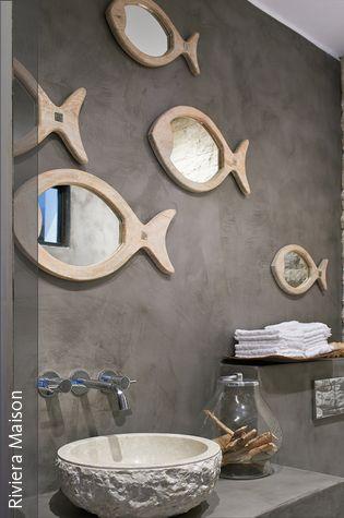 Badezimmer Maritim Einrichten Mit Fisch Spiegel Badezimmer